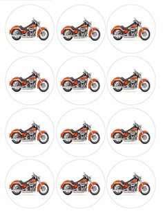 """Amazon.com: Single Source Party Supplies - 2.5"""" Harley Davidson Motorcycle Cupcake Edible Icing Image Toppers #4: Toys & Games"""