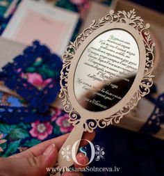 Mirror Invitation by oksanagap on Etsy, $35.00 I am in love with this!!!! Do you know what this logo represents? @Vanessa Velez