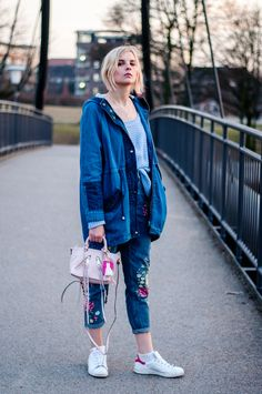 Denim Parka, Embroidered Flower Jeans by Topshop, light blue Sweater, white Stan Smith by adidas with pink Details, Pink Rebecca Minkoff bag, silver Details - Outfit, Streetstyle, Hamburg, Blogger