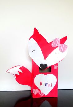 Fox Valentine card box made from a tissue box and scrapbook paper!! Quick, easy Valentine's day box! Valentine box for girl or without bow made for a boy! Hearts, love, red, white, pink!