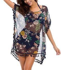 Taydey Women's Stylish Chiffon Tassel Beachwear Bikini Swimsuit Cover up. Try this sexy ladies swimwear cover ups this summer. Look good with womens sexy swimwear. Beachwear Fashion, Beachwear For Women, Women Swimsuits, Women's Fashion, Swimsuit Cover Up Dress, Bikini Swimsuit, Kaftan Designs, Mini Shirt Dress, Clothes For Women