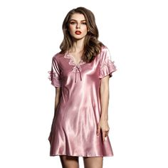 Summer Lingerie Elegent Nightwear Dress Knee Length Chinese Silk Sleepwear  For Women Lace Nightgowns Women Nightdress 9fbfa929ce22