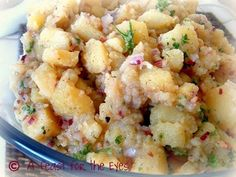 """A Feast for the Eyes: Authentic German Potato Salad (Bavarian Kartoffel Salat), from My """"Mutti"""" Hot Potato Salads, Potato Salad With Egg, Salad Dressing Recipes, Salad Recipes, Authentic German Potato Salad, German Potatoes, Comfort Food, Best Dishes, Side Dishes"""
