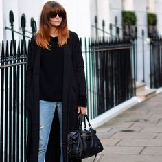 EJSTYLE - Black long duster coat, Black knit sweater, Levis 501 boyfriend jeans, Balenciaga motorcycle le dix bag. Ombre hair with fringe bangs. London street style