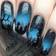 HaPpY HaLlOwEeN! Last Halloween nails of the year Spooky graveyard nails! I used�