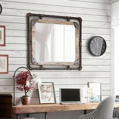 Furniture Of America Revo Industrial 31 Inch Metal Wall Mirror for Mirror For Living Room Wall - Home Design Ideas Shabby Chic Dresser, Rustic Wall Mirrors, Frames On Wall, Furniture Of America, Farm Mirrors, Industrial Mirrors, Mirror Wall, Shabby Chic Farmhouse, Distressed Walls