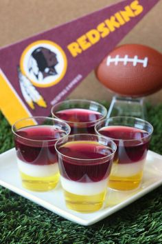Washington Redskins Jell-O Shots oz. box lemon Jell-O 4 envelopes Knox plain gelatin 3 cup vodka 1 cup milk cup granulated sugar 3 oz. box black cherry Jell-O) Redskins Baby, Redskins Football, Football Food, Washington Redskins, Lemon Jello, Tailgate Food, Tailgating, Shot Recipes, Party Recipes