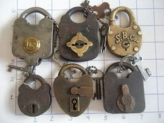 Locks and Keys. Under Lock And Key, Key Lock, Antique Keys, Vintage Keys, Disney Collectibles, Door Knobs And Knockers, Old Keys, Key To My Heart, Door Locks