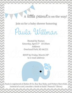 Elephant Party Invitation in Chevron for Birthday or Baby Shower | adorebynat - Paper/Books on ArtFire
