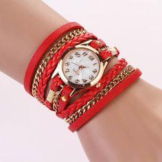 Best Strap Braided Winding Rivet Bracelet Bayan Saatleri 2016 New Women Watches Quartz Analog Clock Wrist Relojes Mujer Ladies