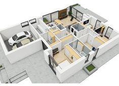 Projekt domu Simon III G2 energo 126,16 m² - koszt budowy - EXTRADOM Beautiful House Plans, Beautiful Homes, Modern Bungalow House, Weekend House, Shoe Rack, Projects To Try, Shelves, House Design, How To Plan