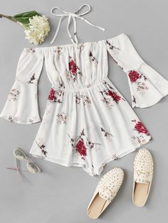 Floral Print Fluted Sleeve Romper - Source by marieejacquelin - Cute Girl Outfits, Cute Summer Outfits, Girly Outfits, Cute Casual Outfits, Outfits For Teens, Pretty Outfits, Stylish Outfits, Girls Fashion Clothes, Summer Fashion Outfits