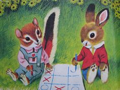 Illustration taken from Chipmunk's ABC, by Roberta Miller, illustrated by Richard Scarry. Little Golden Book, Old Children's Books, Vintage Books, Vintage Cards, Children's Book Illustration, Illustration Styles, Animal Illustrations, Vintage Illustrations, Richard Scarry, Little Golden Books