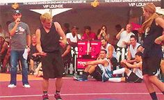 Can't stop laughing XD Josh Hutcherson dancing at the SBNN basketball game (GIF)