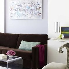 Lavender Wall U0026 Choco Brown Couch