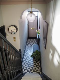 Hallway Makeover Before & After - How We Did It. — Gold is a Neutral Hallway Makeover Before & After - How We Did It. — Gold is a Neutral Hall Tiles, Tiled Hallway, Dark Hallway, Modern Hallway, Modern Staircase, Victorian Terrace Hallway, Edwardian Hallway, 1930s Hallway, Narrow Hallway Decorating