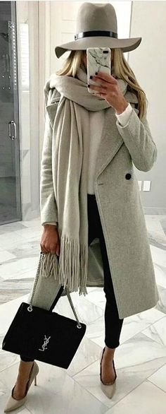 #winter #outfits  gray trench coat, gray top hat, gray scarf, black skinny jeans, and black Yves Saint Laurent clutch bag. Pic by @newyork_streetstyles.