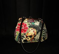 Tattoo Handbag fully lined with front pocket by FloraMoonDesigns