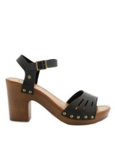 sandale noire talon bois