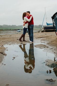 Northumberland Pre Wedding Shoot - Northumberland Pre wedding shoot Young couple amongst the boats on Alnmouth beach