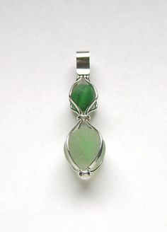 Sea Glass Jewelry  Sterling Caged Double Sea by SignetureLine, $75.00