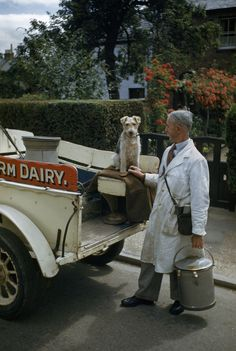 A milkman and his terrier pose at the back of a milk truck, 1948. By Melville B. Grosvenor; published in National Geographic.