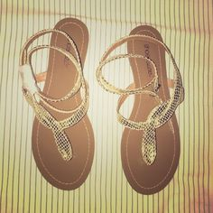 New ShoeDazzle  snake skin Gold Sandals New ShoeDazzle  snake skin Gold Sandals size 7, brand new in a box. Shoe Dazzle Shoes Sandals
