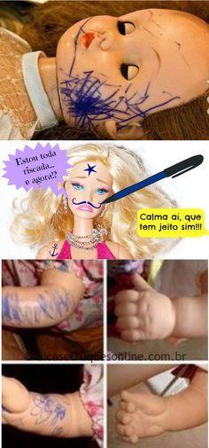 Super dica de como tirar tinta de caneta das bonecas #boneca #tirarriscos #limpeza #limpar #dicas #dicascaseiras Remover Tinta, Barbie, Doll Repaint, Doll Maker, Room Organization, Clean House, How To Remove, How To Make, Baby Room