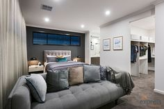 Huge master suite with a walk in robe and double ensuite. Ventura Homes, Walk In Robe, Storey Homes, Display Homes, Master Suite, House Design, Couch, Entertaining, Bed