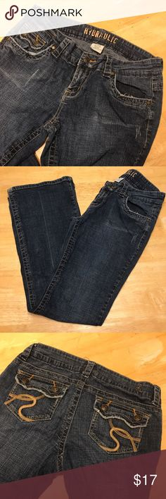 Hydraulic Bootcut Distressed Jeans 9/10 Good Condition. Have been worn a few times. Minor wear at bottom pictured. 31in inseam. Hydraulic Jeans Boot Cut