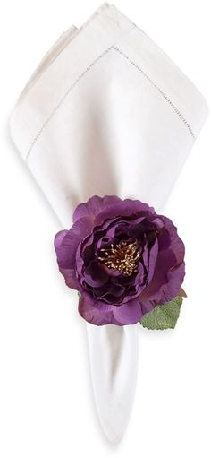 Purple Peony Napkin Ring - perfect for #bridalshowers and as a take home favor