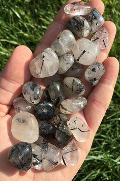 Tourmalinated Quartz Crystal (Tumbled Stone)