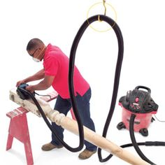 install ceiling hook to keep #shopvac hose out of way