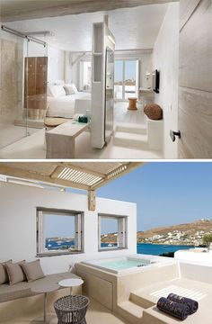 This hotel room in Mykonos, Greece, has it's own private spa on the balcony.