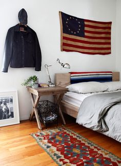 The decor here isn't my style; the point of this pin is that the decoration does an excellent job of attracting attention away from the bland (and very recognizable) IKEA Malm bed.