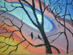 Crows in Twilight by Dacus Stewart Original Acrylic 2011 In the Marie Huston Collection