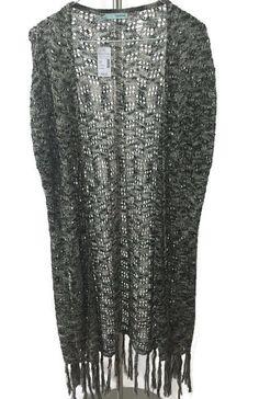 Maurices Sz Large Black & Cream Open Weave Long Sleeveless Cardigan Fringe Hem #Maurices #Cardigan