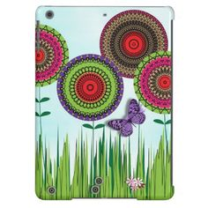 Whimsical Summer Flowers and Butterfly iPad Air Cover