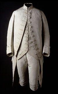 Suite (Justacorps, waistcoat, and breeches), Silk faille, cotton/linen plain weave, silk twill. Philadelphia Museum of Art