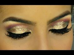 Colores dorado, granate, purpurina. Maquillaje de ojos para fiesta o boda de día. Golden, glitter, garnet, burgundy. Morning wedding and party eye makeup. Couleurs brillant, doré, grenat. Maquillage des yeux. Celebration. Mariage de matin. Camila Coelho https://www.facebook.com/bagatelleoficial Bagatelle Marta Esparza #dorado #purpurina #glitter