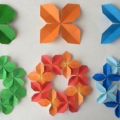 """折り込み方によってはお花にもなるクローバー、リースにすると華やかです。 「クローバーリース」の折り方はYouTube"""" kamikey origami""""チャンネルにて。 Clover Wreath designed by me Tutorial on YouTube"""" kamikey origami"""" #折り紙#origami #ハンドメイド#kamikey"""