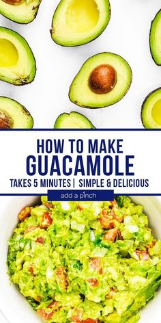 How to Make Guacamole – This simple guacamole comes together in less than 5 minutes and is full of fresh ingredients! Delicious dip and topping to so many dishes! //addapinch.com #guacamole #avocado #howtomakeguacamole #addapinch Fun Easy Recipes, Summer Recipes, Sweet Recipes, Keto Recipes, Vegetarian Recipes, Quick Weeknight Meals, Quick Easy Meals, Most Popular Recipes, Favorite Recipes