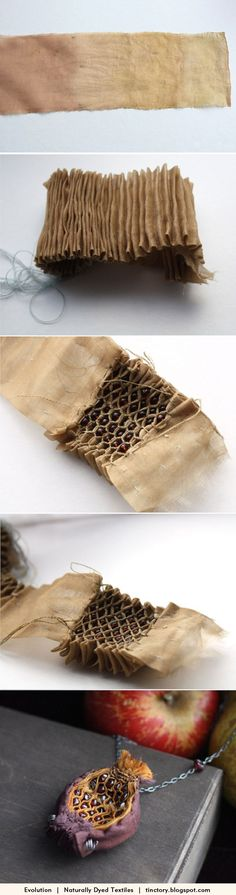 Fabric Manipulation - honeycomb smocking using naturally dyed fabric; Textile Jewelry, Fabric Jewelry, Jewelry Art, Jewellery, Textile Fabrics, Textile Art, Fabric Art, Fabric Crafts, Honeycomb Stitch