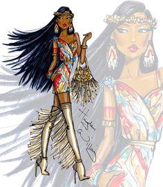 Hayden Williams Fashion Illustrations   Disney Diva Fashionistas by Hayden Williams: Pocahontas