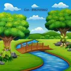 Painting for Primary School Churu,School Wall Painting Artist Churu Scenery Drawing For Kids, Art Drawings For Kids, Background Clipart, Cartoon Background, Cartoon Painting, Artist Painting, Landscape Drawings, Landscape Illustration, School Wall Decoration