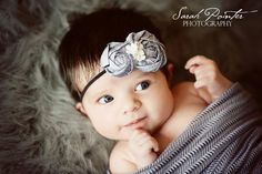 (She's like the cutest thing I've ever seen, look at all that hair!) Newborn Baby Girl HeadbandGray Rosette by BellaSorellaCouture, $20.00