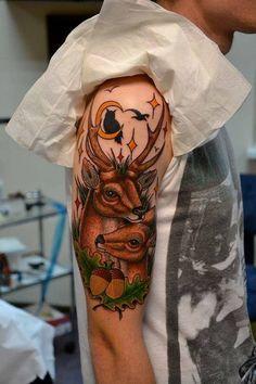 Deer Tattoo on Half Sleeve - 45 Inspiring Deer Tattoo Designs  <3 <3