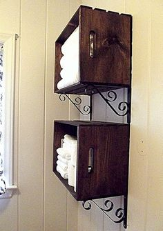 For above the toilet in the bathroom - JoAnns $9 crates just add shelf brackets ..totally doing it in every bathroom.. use one to hold extra toiletries in guest bathroom for guests in our vacation house. ....