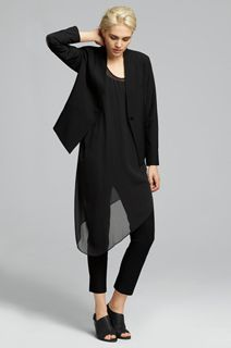 EILEEN FISHER Spring Icons Collection: High Back Jacket + Silk Asymmetrical Dress + Slim Ankle Pant