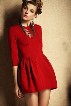 d2f15ae0d13 Red Three Quarter Length Sleeve Flare Dress Flare Dress